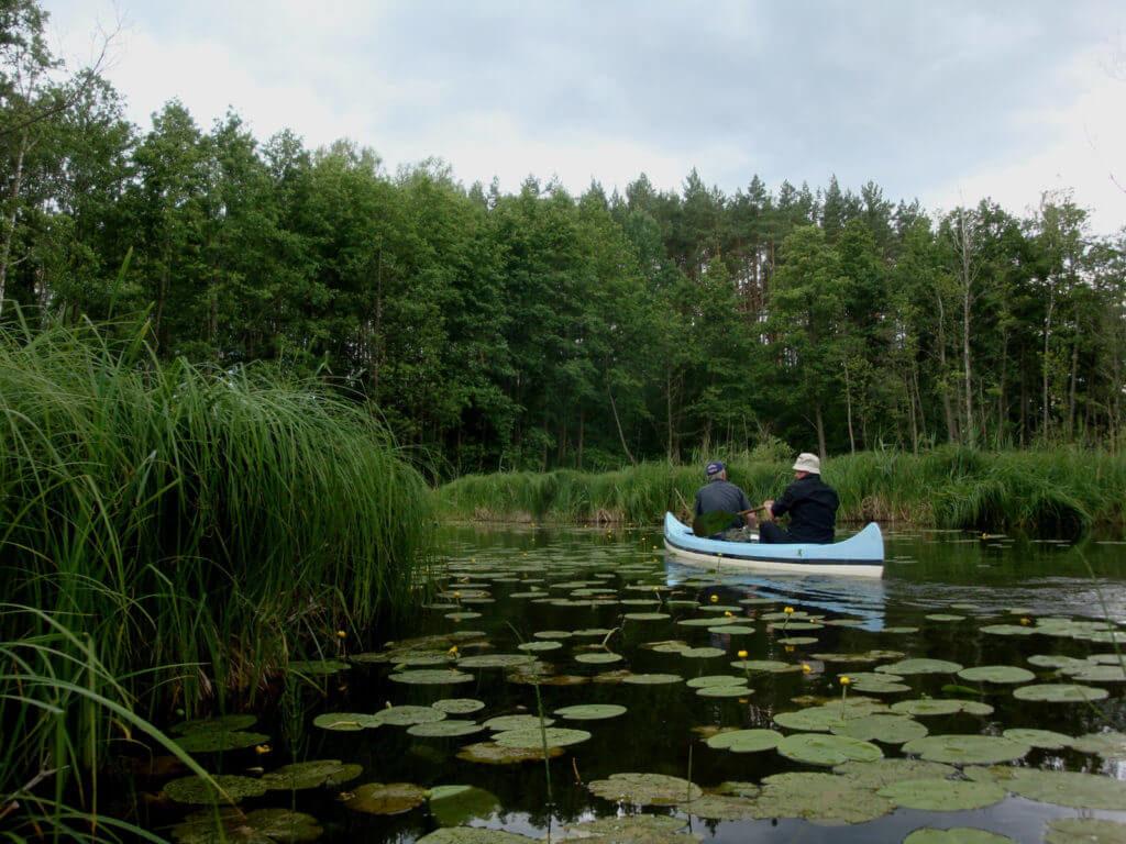 Mężczyźni płynący kajakiem łowią ryby na jeziorze